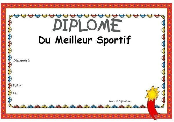 diplome de sportif imprimer. Black Bedroom Furniture Sets. Home Design Ideas